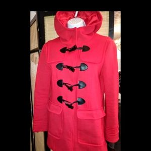 Love tree red button up pea coat free W purchase